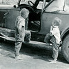 ", Glen Frame, no problem to start it Tom, I seen how daddy did it, hmmm, whatca think Glen, think we could get it started, Tom Frame, The Puddle Jumper 1935-Glen Frame 6 and Tom Frame 4 checking out the Roadster Frame car nick named ""The Puddle Jumper"""