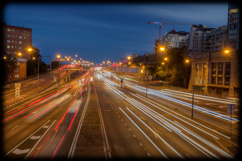 Bradfield Highway at Evening Rushhour from High Street , North Sydney