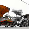 Trishaw standing out of all the motorcycles, taken in Georgetown, penang