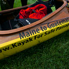 RYAN HUTTON/ Staff photo.<br /> The kayak Deborah Walters is paddling from Maine to Guatemala to benefit the non-profit Safe Passage that helps children living in and around Guatemala City's garbage dump.