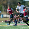 DESI SMITH/Staff photo.  Manchesters Lucas Firme pushes the ball towards the goal against in a Soccer Jamboree held saturday morning at New Balance Track and Field at Newell Stadium.   August 30,2014