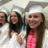 Graduation Exercises for the Westford Academy Class of 2014, here these three friends are ready to graduate, L-R, Colette O'Connor, Laura O'Donnell and Meghan O'Neil   .  SUN/ David H. Brow