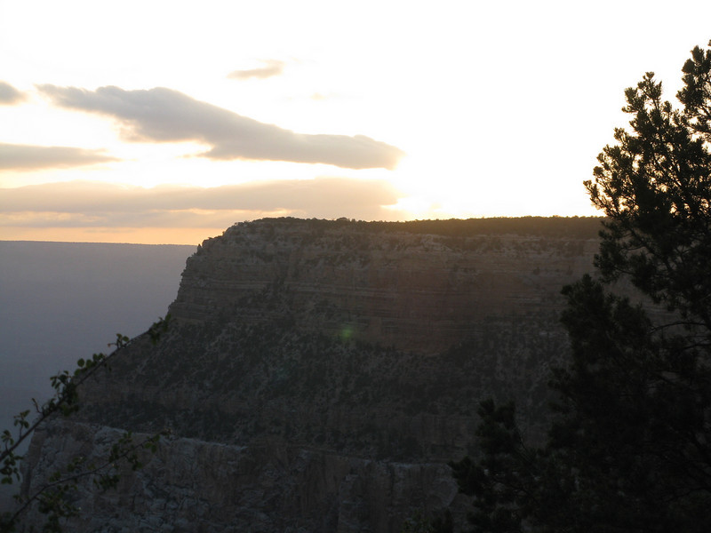 On the next morning, Thursday, May 8, 2008, my internal clock was still set for river time, which means getting up with the first light of dawn.  So, I got up and took a walk.  Sunrise was just occurring over Yavapai Point,  about 6 a.m.