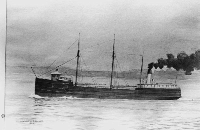 The wooden steamer Vienna, built in 1873, measured 191 feet in length. She sank on September 17, 1892 following a collision with the propeller Nipigon about four miles below Whitefish Point. The Vienna was carrying a cargo of iron ore