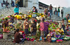 The famous colorful flower market on the steps of the Santo Tomas church in Chichicastenango, Guatemala, Central America.