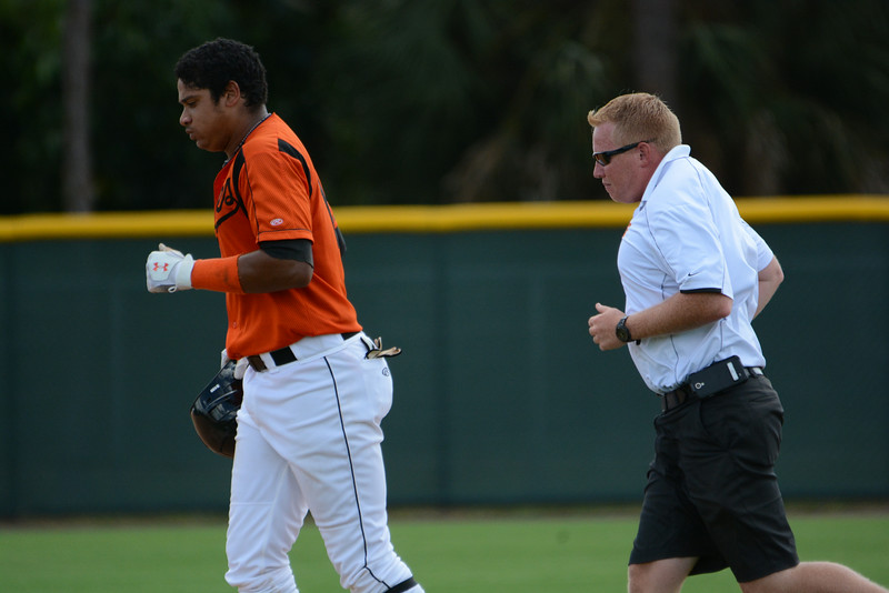 Date: 8/25/14<br /> Location: Sarasota, FL<br /> (L to R) An injured Jomar Reyes is followed off the field by Trainer Greg Svarczkopf