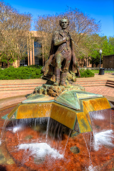 Stephen F. Austin Many colleges or universities have a namesake and a statue of that person somewhere on their campus. Stephen F. Austin State University in Nacogdoches, Texas is no exception.
