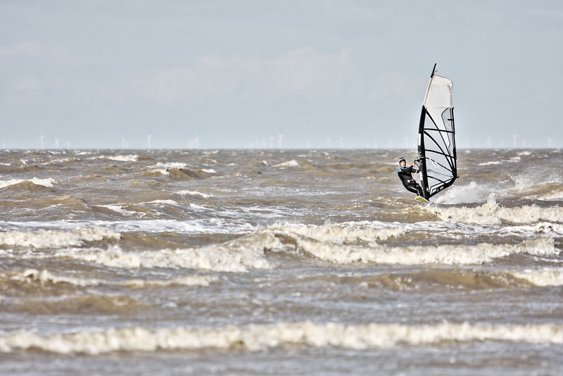 Windsurfer enjoying the strong winds at Minnis Bay, Kent