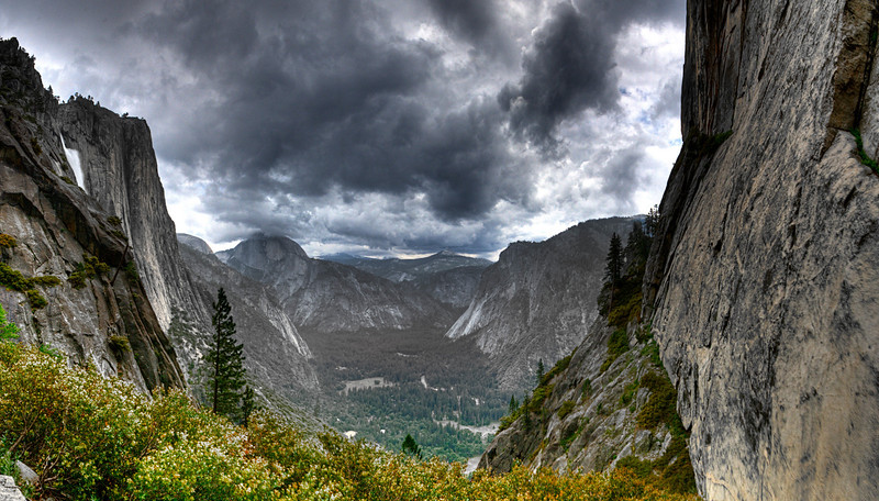 Yosemite Valley with Half Dome in the clouds