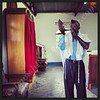Abayudaya Jews  Seth Yonadav practices the shofar  Moses Synagogue, Nabugoye Village, Mbale District, Uganda