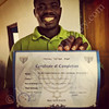 Alex Armah, spiritual leader, with his Certificate of Introduction to Rabbinics, Ghana