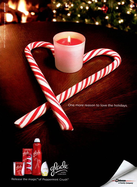 GLADE Peppermint Crush 2011 US 'One more reason to love the holidays - Release the magic of Peppermint Crush'