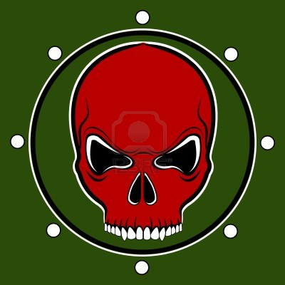 14073837-red-skull-drum-on-the-khaki-background