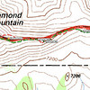 Topo map showing the track logs from my hike up (red) and back down (green). The turquoise and white dashed line is my estimate of the activation zone. My route back down was better, I stayed along the summit ridge or on the south side of it. On the way up I made the mistake of trying to go along the north side of the big rock formation, and that put me onto a steep bowl that I had to climb back up (1 step up, slide back 1/2 step, take another step). The north side is also the lee side, so it felt like it was 10 degrees hotter without the SW breeze to cool you down.