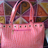 Item # 2582; CHARLENE; large; bright pink croc embossed faux leather tote; PHP525  Taken with SmugShot on my iPhone