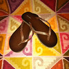 Item # 3654;  OLD NAVY; sz 8 or 9 not sure; brwn faux leather flipflips; PHP425