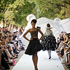 """A model walks the runway presenting  creation by Yassen Samouilov , Livia Stoianova for the fashion show of On Aura Tout Vu  Fall Winter 2010-2011 during the Haute Couture Fashion Week Paris,France. The """"Fishing for compliments"""" collection."""