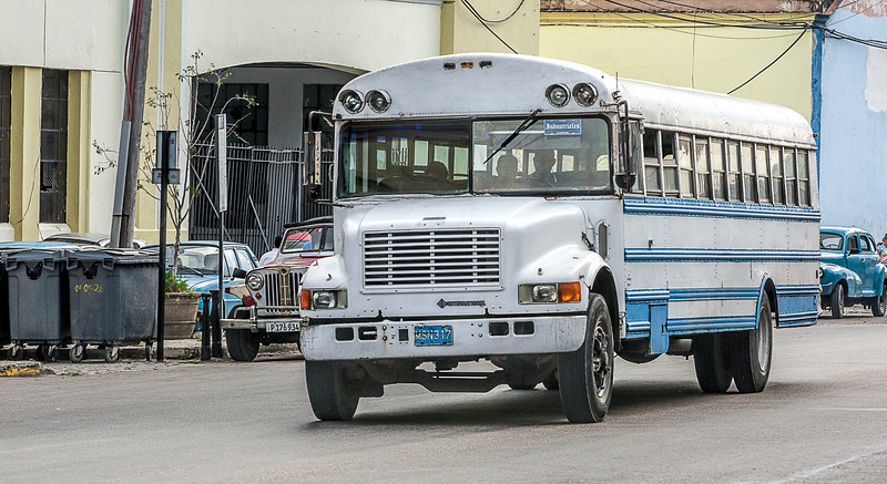 Old Blue and White Bus in Havana
