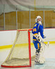 Cortland-Homer Golden Eagles goalie Ryan Gabriel before the start of the third period against the Baldwinsville Bees at the Greater Baldwinsville Ice Arena in Baldwinsville, New York.  Baldwinsville won 5-1.