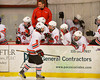 Baldwinsville Bees Matthew Colclough (5) celebrates his goal against the Cortland-Homer Golden Eagles at the Greater Baldwinsville Ice Arena in Baldwinsville, New York.  Baldwinsville won 5-1.