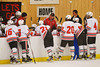 Baldwinsville Bees Coach Mark Lloyd talks to his players during a time out in a game against the Ithaca Little Red at the Greater Baldwinsville Ice Arena in Baldwinsville, New York on Tuesday, December 10, 2013.  Teams skated to a 5-5 tie.