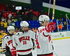 Baldwinsville Bees players salute their fans, family and students after playing the McQuaid Black Knights in NYSPHSAA Division I Boys Hockey Championships at the Utica Memorial Auditorium in Utica, New York on Sunday, March 15, 2015.
