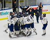 Skaneateles Lakers celebrate the win over the Christian Brothers Academy/Jamesville-DeWitt in NYSPHSAA Division II Boys Hockey Championships at the Utica Memorial Auditorium in Utica, New York on Saturday, March 14, 2015.  Skaneateles won 4-3.
