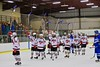 Baldwinsville Bees salutes the fans after defeating the Oswego Buccaneers at the Greater Baldwinsville Ice Arena in Baldwinsville, New York on Tuesday January 27, 2015.  Baldwinsville won 4-0.