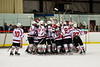 Baldwinsville Bees celebrate the win over the West Genesee Wildcats at the Greater Baldwinsville Ice Arena in a Section III Division I Boys Hockey Playoff game at Baldwinsville, New York on Tuesday February 24, 2015.  Baldwinsville won 5-0.