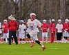 Baldwinsville Bees Patrick Delpha (11) brings the ball up field against the Auburn Maroons in Section III Boys Lacrosse action at the Pelcher-Arcaro Stadium in Baldwinsville, New York on Monday, April 27, 2015..  Auburn won 14-10.