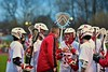 Baldwinsville Bees defensive players listen to their coach during a time out against the Auburn Maroons in Section III Boys Lacrosse action at the Pelcher-Arcaro Stadium in Baldwinsville, New York on Monday, April 27, 2015..  Auburn won 14-10.