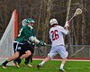 Baldwinsville Bees Connor Smith (26) comes around the net to score against the Fayetteville-Manlius Hornets in Section III Boys Lacrosse action at the Pelcher-Arcaro Stadium in Baldwinsville, New York on Friday, May 1, 2015.  Baldwinsville won 11-9.