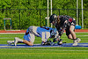 Auburn Maroons Kevin Munn (3) facing off with Syracuse Cougars Sean Eccles (13) to start the Section III Boys Lacrosse Semi-Final game at the Michael J. Bragman Stadium in Cicero, New York on Saturday, May 23, 2015.  Auburn won 14-6.
