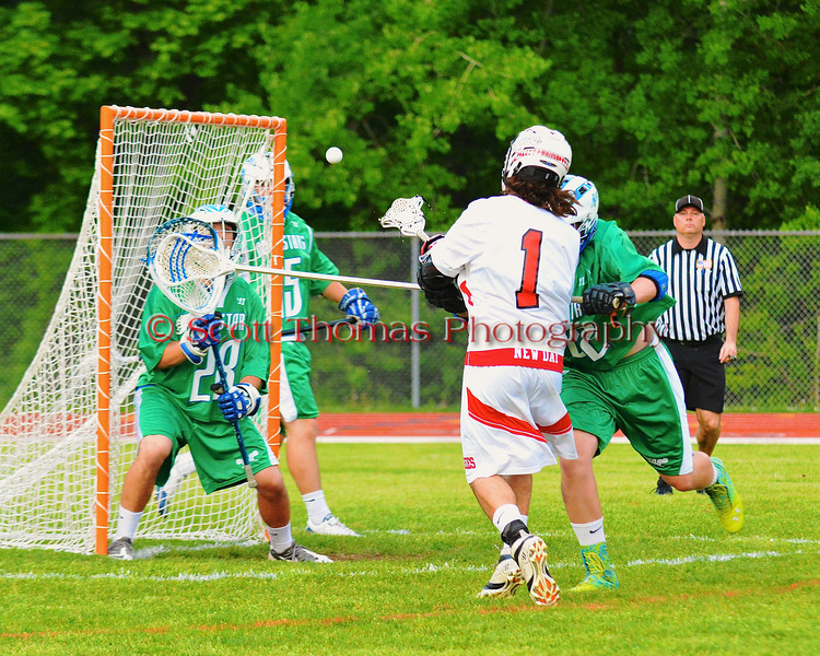 Baldwinsville Bees Zachary Bulak (1) shoots and scores the first goal in the Class A quarterfinal Section III Boys Lacrosse game against the Cicero-North Syracuse Northstars at the Pelcher-Arcaro Stadium in Baldwinsville, New York.