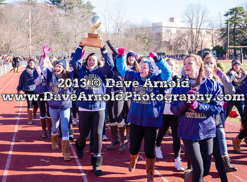 Wellesley Varsity Football defeated Needham 22-6, to win the 2013 Fredrick J. Gorman Centennial Trophy, on Thursday November 28, 2013, at Wellesley High School in Wellesley, Massachusetts.