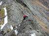 Scott scrambling on Sharp Edge, Blencathra