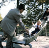 1964, Adam on slide with Judie and Poppy, Scan7