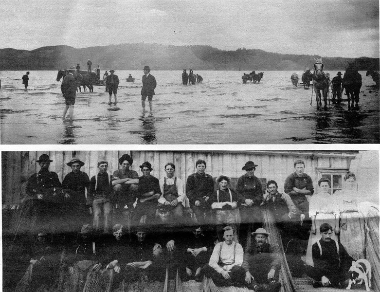 Desdemona Sands Seining Grounds and Crew  1900,Columbia River At  Astoria,