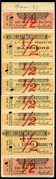 Round-trip combined train and ferry ticket to Fire Island dating from 1899. Includes ferry from Manhattan to Long Island City, train to Bay Shore, transfer to Bay Shore docks and transport on the Great South Bay Steamboat to Fire Island. The Great South Bay Steamboat company began daily service to Point O'Woods in 1895 and the Surf Hotel near Kismet in 1897.