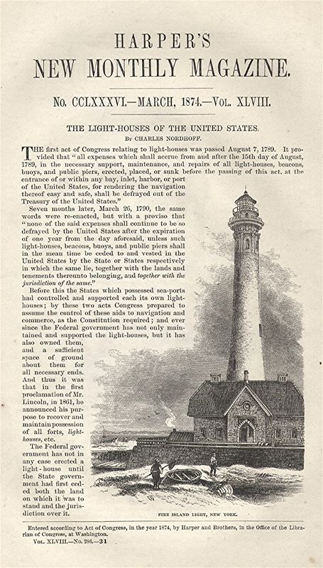 Fire Island Lighthouse, Harper's, March, 1874