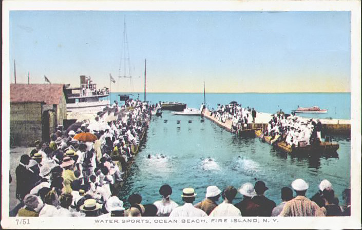 Swimming race, Ocean Beach, ca. 1915