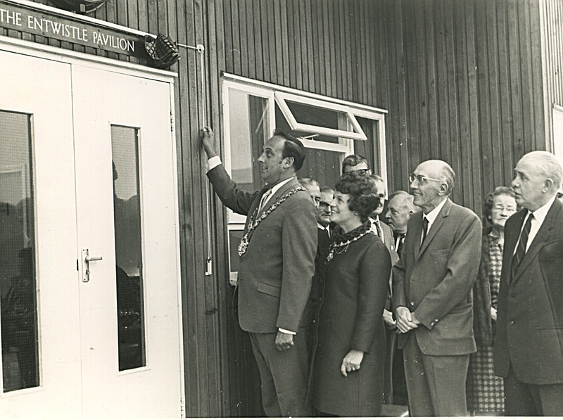 Has CC Off opening of new Pavillion Aug 1969- Coun Don Valentine Mayor, Mrs  Valentine, John Entwistle P