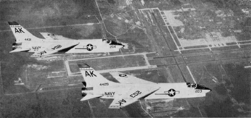 """F-8As VF-62 over NAS Cecil Field 1962. Photography courtesy of <a href=""""http://en.wikipedia.org/wiki/Naval_Air_Station_Cecil_Field#mediaviewer/File"""">http://en.wikipedia.org/wiki/Naval_Air_Station_Cecil_Field#mediaviewer/File</a>:F-18Cs_over_NAS_Cecil_Field_1994.JPEG"""