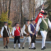 From left, Norm Hanover of Boxboro, Gerry Gaebel of Boxboro, Alan Rohwer of Boxboro, Gaebel's son Steve Gaebel of Littleton and Tim Blankenship of Boxboro, members of the Boxborough Minutemen, march to the Littleton Patriots Day celebration. (SUN/Julia Malakie)