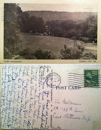 "A postcard showing Camp Sankanac in Spring City. The card is dated Aug. 27, 1948. The card reads, ""Dear Friends: you know we are having a nice time. Wonderful Miss (illegible word) Palson is beyond compare. Tonight a young man who does Bible Club work in Holland will speak. Pray about Miss Kaeh this winter. You know we thought of asking her to conduct a class out our way last winter. Also along the (illegible word) 1st Pres. church and Bert. Miss Kaeh mentioned to Bert some time ago about linking up with that church so he could have a Brigade. Something to pray about. Love BW"""