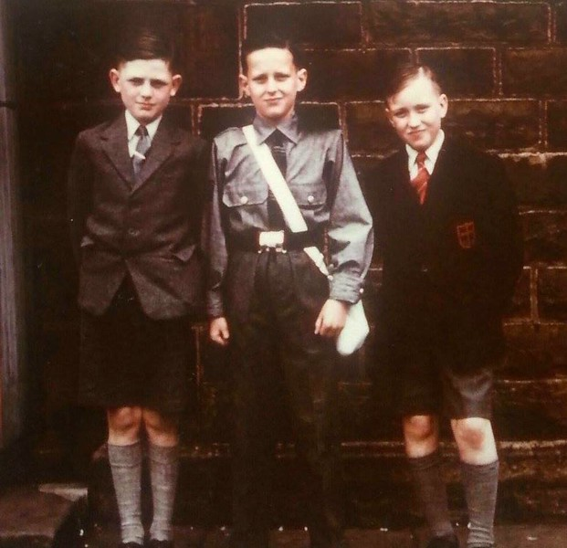 Rawtenstall St Paul's Constablee 1955 Colin Whittaker left Michael McGrath far right Doug Kershaw centre