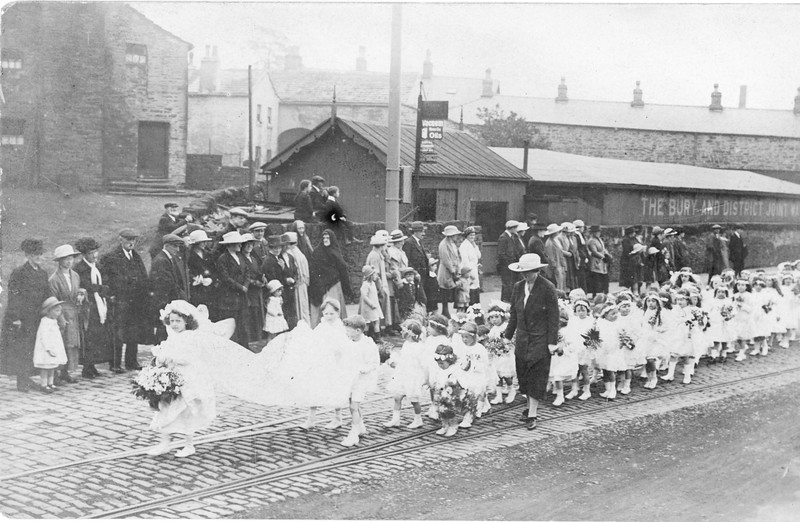 Rawtenstall parade early 1900s near bottom of Hollin Lane  Lee Street in Background