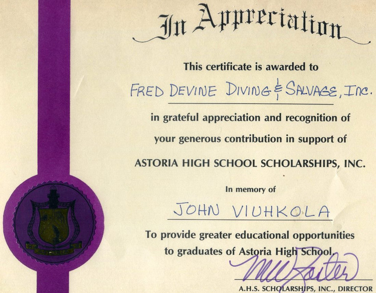 Memory Of John Viuhkola,Fred Devine Diving And Salvage,Astoria High School Scholarships,