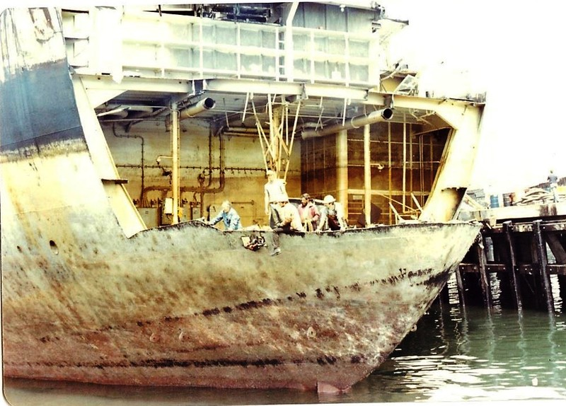 Salvage Chief 1976  Sansinena Job Preparing Stern Section For Tow To Scrap Yard  Don Floyd  Berth 46 Los Angeles Harbor