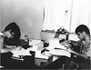 CSC Upward Bound student Becky Zastrow, left, and instructor Don McDowell, right, working on computers, 1969. (Courtesy photo)